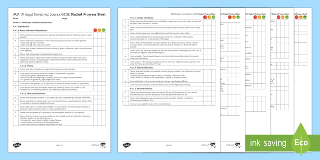 AQA (Trilogy) Unit 4.6 Inheritance, Variation and Evolution Student Progress Sheet, progress, checklist, AQA, KS4 - Student Progress Sheets, AQA, RAG sheet, Unit 4.6 Inheritance, Variation and Evolution