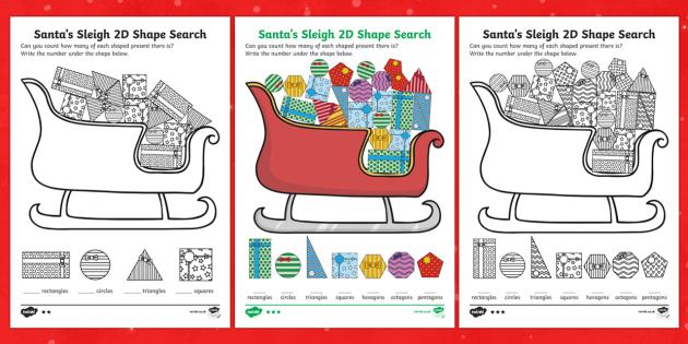Santa's Sleigh 2D Shape Search Activity