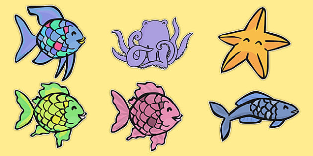 Stick Puppets to Support Teaching on The Rainbow Fish - The Rainbow Fish, Marcus Pfister, resources, Rainbow Fish, PSHE, PSE, octopus, shimmering scales, starfish, friendship, under the sea, sea, story, story book, story book resources, story sequenc