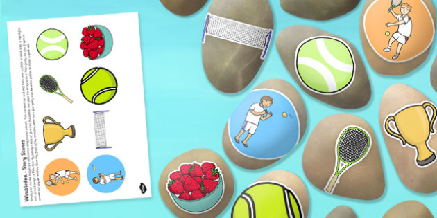 Wimbledon Story Stones Image Cut Outs - Story stones, stone art, painted rocks, storytelling, tennis, sport, summer