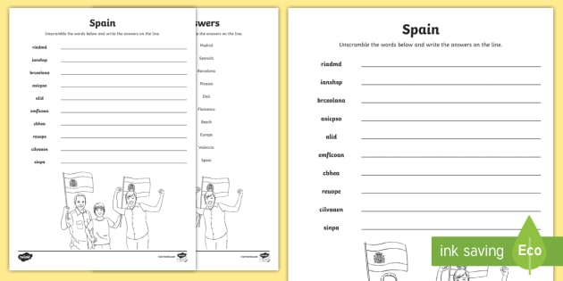 Spain Word Unscramble Teacher Made