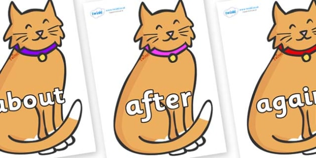 KS1 Keywords on Pussy Cats - KS1, CLL, Communication language and literacy, Display, Key words, high frequency words, foundation stage literacy, DfES Letters and Sounds, Letters and Sounds, spelling