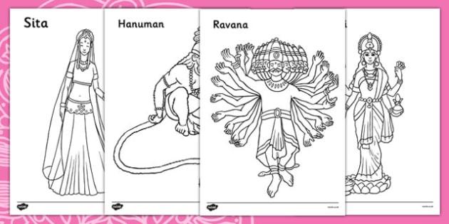 Diwali Colouring Sheets - Diwali, religion, hindu, activity, posters, colouring, fine motor skills, hanoman, rangoli, sita, ravana, pooja thali, rama, lakshmi, golden deer, diva lamp, sweets, new year, mendhi, fireworks, party, food,