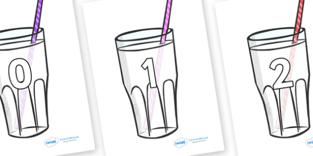 Numbers 0-31 on Milkshakes - 0-31, foundation stage numeracy, Number recognition, Number flashcards, counting, number frieze, Display numbers, number posters