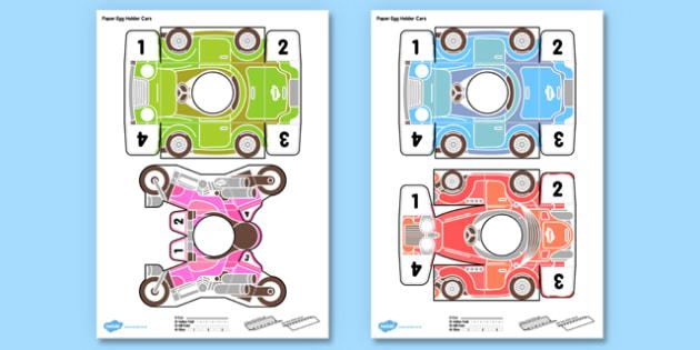 3D Paper Egg Holder Cars Printable Activity - 3d, paper, egg holder cards, egg holder, egg, holder, cards, printable, activity, paper model, model, paper craft, craft