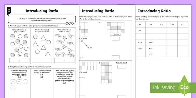 Ratio Differentiated Worksheet Activity Sheets Ratio And