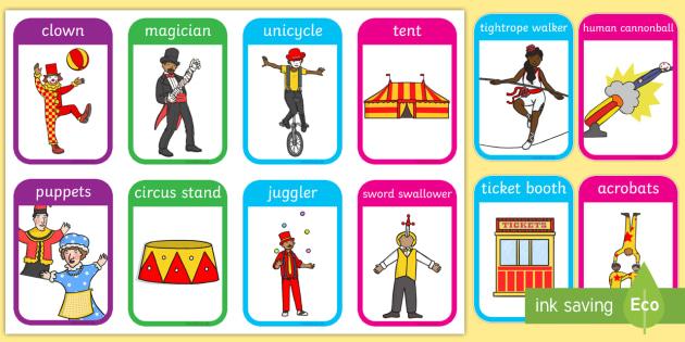 Circus Flashcards - visual aid, word cards, keywords, flash cards