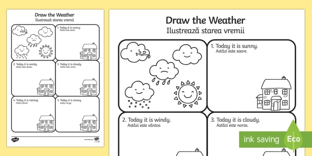 draw the weather worksheet activity sheet english romanian. Black Bedroom Furniture Sets. Home Design Ideas