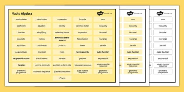 KS4 Maths Word Mat Algebra - KS3, KS4, GCSE, Maths, keywords, vocabulary, revision, algebra