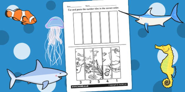 Under the Sea Themed Number Sequencing Puzzle - numbers, sort