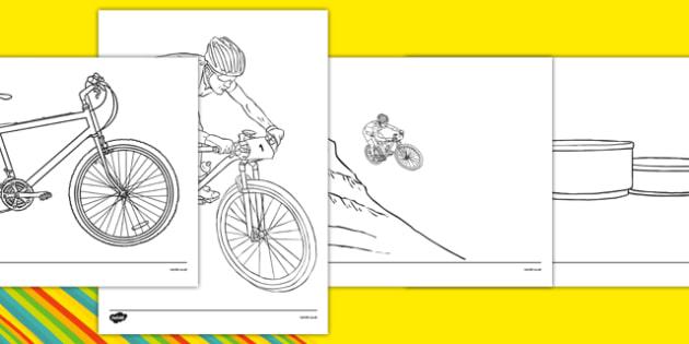 Rio 2016 Olympics Mountain Biking Colouring Sheets - rio 2016, rio olympics, 2016 olympics, mountain biking, colouring
