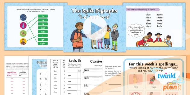 PlanIt Y1 Term 2B W3: Split Digraphs 'i-e' 'o-e' Spelling Pack - Spellings Year 1, Term 2B, Week 3, split digraphs, i-e, o-e