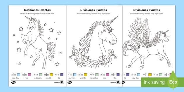 Hojas de colorear por divisiones exactas con dos cifras - unicornios