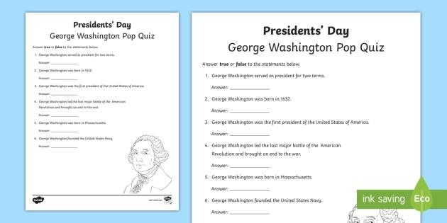Presidents Day George Washington Pop Quiz Worksheet