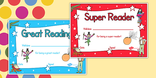Roald Dahl Themed Reading Certificates - rewards, awards, read