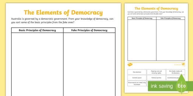 The Elements of Democracy Worksheet