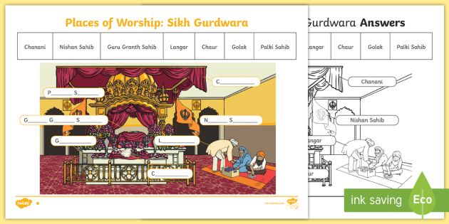 places of worship sikh gurdwara temple worksheet. Black Bedroom Furniture Sets. Home Design Ideas