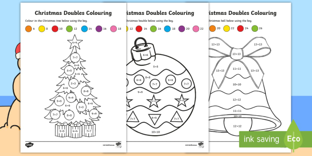 christmas doubles colouring worksheet activity sheets maths. Black Bedroom Furniture Sets. Home Design Ideas