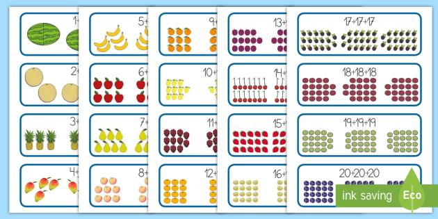 Tarjetas educativas: Triples - La comida - matemáticas, triples, múltiplos de tres, suma, tabla del 3, adición,Spanish