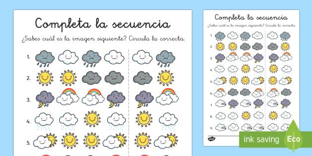 Fichas para completar la secuencia: El tiempo  - El tiempo y las estaciones del año, proyecto, Spanish