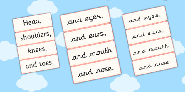 Head Shoulders Knees and Toes Word Cards - cards, head, knees