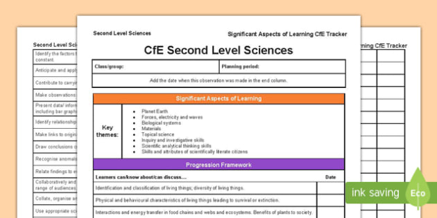 Sciences Significant Aspects of Learning and Progression Framework CfE Second Level Tracker Tracker-Scottish