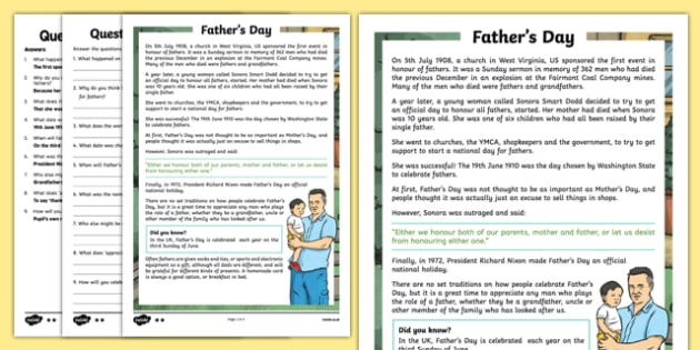 KS2 Father's Day Differentiated Reading Comprehension Activity