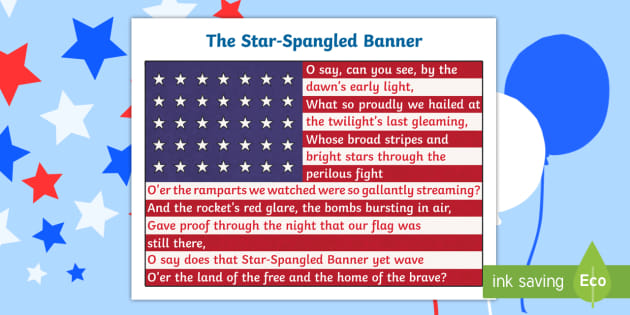 photograph about Words to the Star Spangled Banner Printable named Nationwide Anthem \