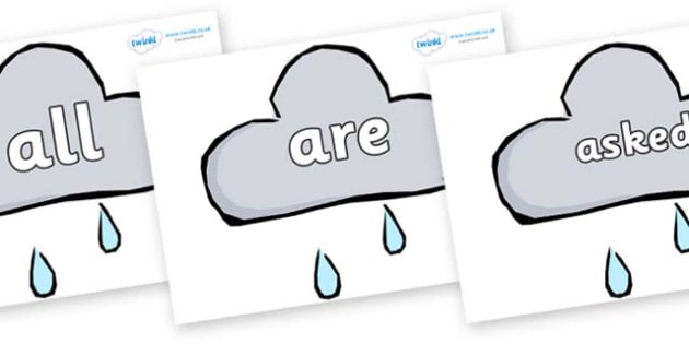 Tricky Words on Weather Symbols (Rain) - Tricky words, DfES Letters and Sounds, Letters and sounds, display, words