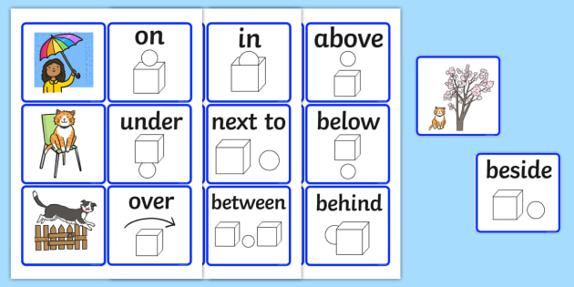 Preposition In Learn In Marathi All Complate: Preposition Matching Picture Cards
