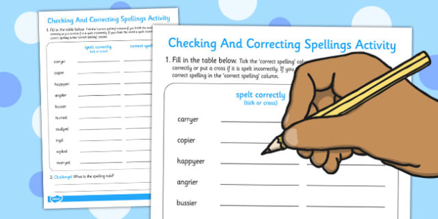 Adding ier and ied Spelling Correction Activity - activity, spell
