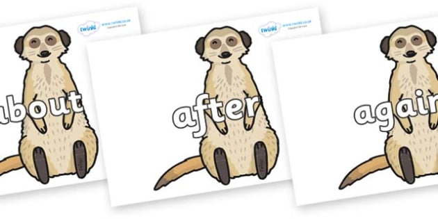 KS1 Keywords on Meerkats - KS1, CLL, Communication language and literacy, Display, Key words, high frequency words, foundation stage literacy, DfES Letters and Sounds, Letters and Sounds, spelling