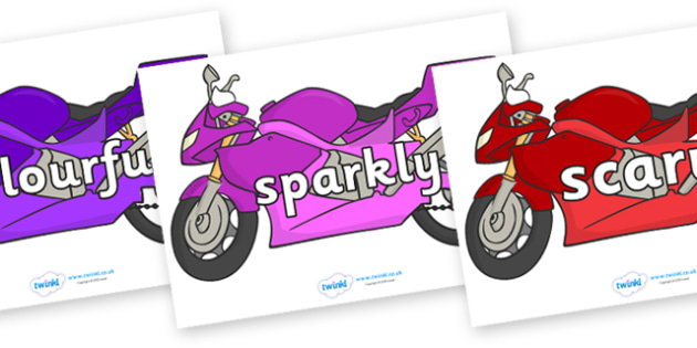 Wow Words on Motorbikes - Wow words, adjectives, VCOP, describing, Wow, display, poster, wow display, tasty, scary, ugly, beautiful, colourful sharp, bouncy