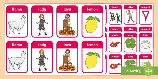 Premise Indicator Words: Two Syllable Initial 'L' Sound Playing Cards
