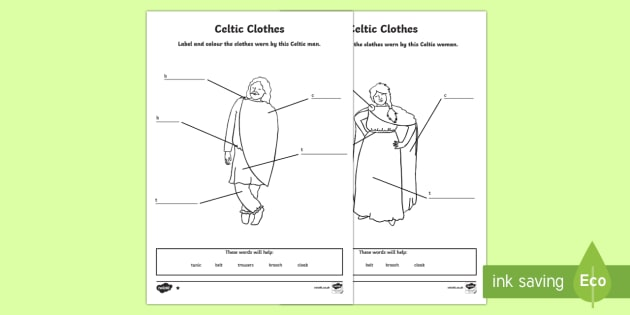 Celtic Clothes Differentiated Worksheet / Activity Sheets-Scottish