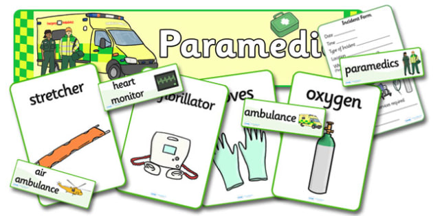Paramedics Role Play Pack - Paramedics Role Play, paramedic, paramedic resources, ambulance, ambulance man, emergency, accident, injury, people who help us, role play, display, poster, Role Play Pack - role play, people who help us role play, people