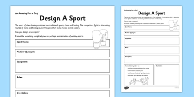 design a sport worksheet activity sheet design a sport