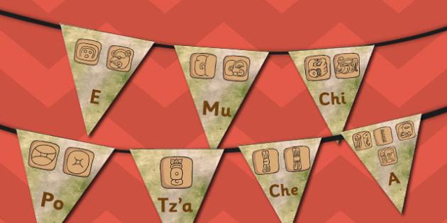 Mayan Alphabet Bunting - mayan, alphabet, bunting, display, maya
