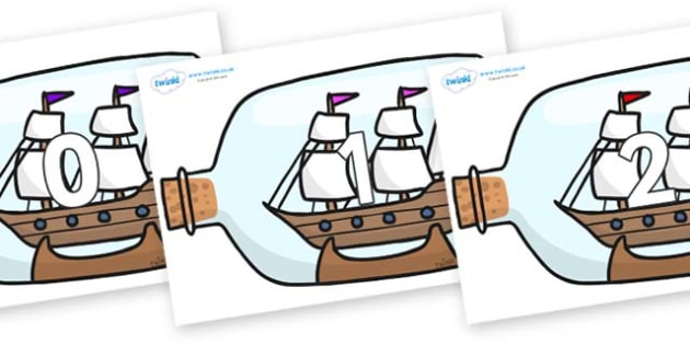 Numbers 0-50 on Ship in a Bottles - 0-50, foundation stage numeracy, Number recognition, Number flashcards, counting, number frieze, Display numbers, number posters