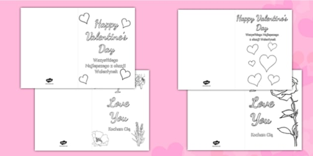 Valentines Day Card Colouring Templates Polish Translation