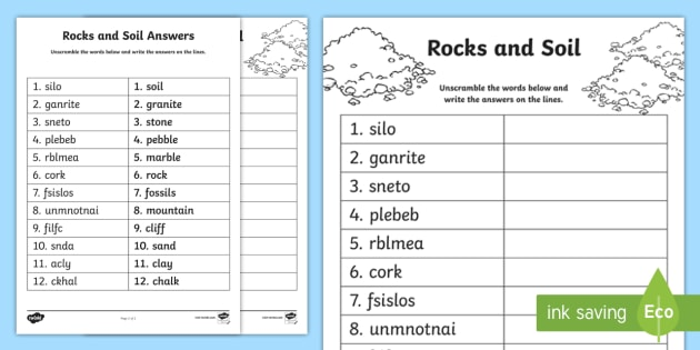 Rocks and soil word unscramble cfe sciences vocabulary for Words for soil