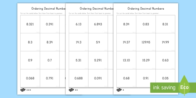 ordering decimal numbers differentiated worksheet  worksheets  ordering decimal numbers differentiated worksheet  worksheets  ordering  comparing decimals place value