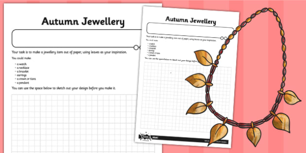 Autumn Jewellery Worksheet - autumn, jewellery, worksheet, sheet