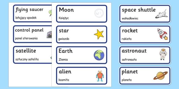 Spaceship Word Cards Polish Translation - polish, space ship, word cards, word, cards, space, ship