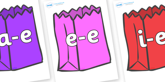 Modifying E Letters on Bags - Modifying E, letters, modify, Phase 5, Phase five, alternative spellings for phonemes, DfES letters and Sounds