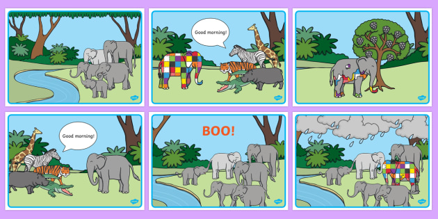 Story Sequencing Colour to Support Teaching on Elmer - australia, elmer, story, sequencing