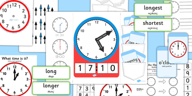 Telling The Time Lapbook Creation Pack Polish Translation - polish, lapbooks, pack, time