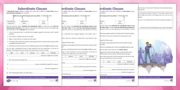 New Ks2 Subordinate Clauses Differentiated Worksheet Grammar