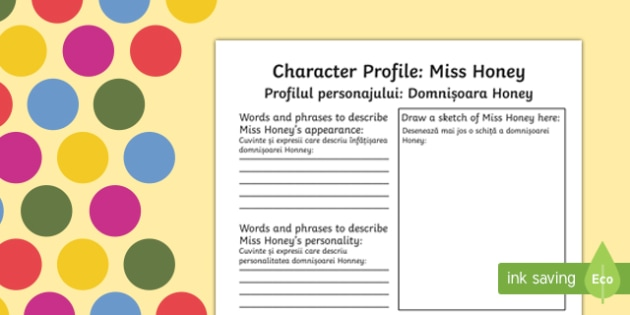 Miss Honey Character Profile Worksheet to Support Teaching on Matilda English/Romanian