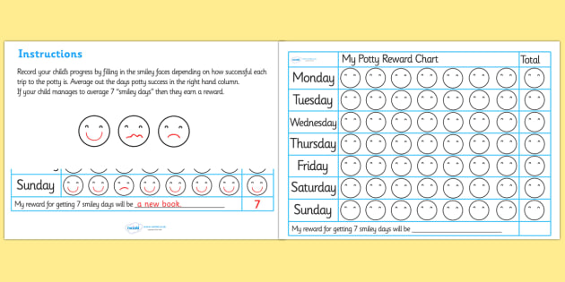 Potty Training Reward Chart  Potty Training Reward Chart